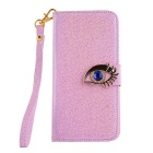 MO.MAT Eye Diamond Pattern Leather Wallet Case with Strap for Samsung Galaxy S6 - Pink