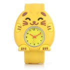 Children's Cartoon Cat Style Silicone Band Quartz Analog Watch - Yellow + Multi-Colored (1 x 377)