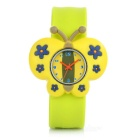 Children's Butterfly Style Silicone Band Quartz Analog Watch - Yellow + Multi-Colored (1 x 377)