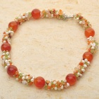 Indian Carnelian Peridot Multigem Pearl Necklace