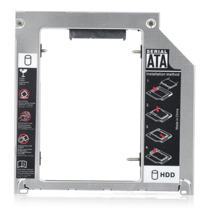 "9.5mm 2.5"" SATA HDD Hard Drive Caddy Holder for APPLE Laptop - Silver"