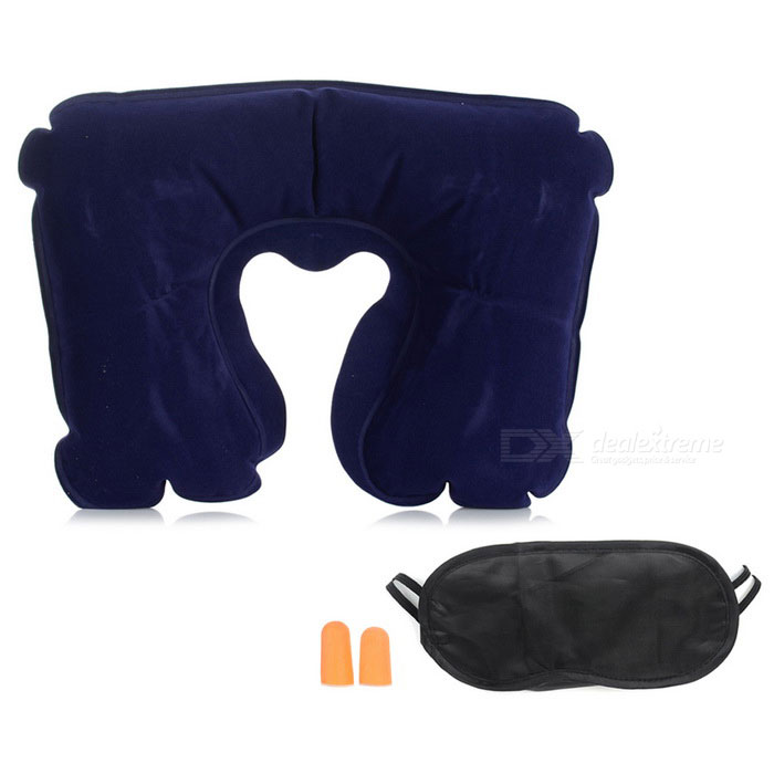 AoTu AT9029 3-in-1 Inflatable Pillow Set Sleep Travel Kit - Deep Blue