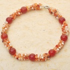 Indian Carnelian Agate Pearl Necklace