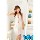 Women's Sexy Ultra-slim Deep V-Neck Nightwear Dress Suit - White
