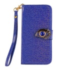 MO.MAT Shining Eagle Eye Pattern PU + PC Wallet Case w/ Strap for Samsung Galaxy S6 - Blue