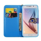 MO.MAT Eye Diamond Pattern Wallet Case w/ Strap for Samsung S6 - Blue