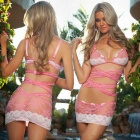 Ultra-sexy Women's Bundled See-through Lace Nightwear Dress - Pink