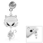 Fox Style Rhinestone + Zinc Alloy Dust-Proof 3.5mm Plug - Silver