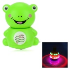Cute Frog Style Fan Spinning Top Toy w/ Music / Colorful Light - Green + White (3 x AA)