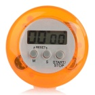 "1.3"" Screen Round Mini Digital Kitchen Timer - Orange + Grey"
