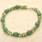 Exquisite Chrysoprase Gemstone Pearl Necklace