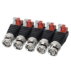 Male CCTV Monitoring Video BNC Plugs Connectors - Black + White (5PCS)