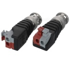 Male CCTV Monitoring Video BNC Plugs Connectors - Black + Silver