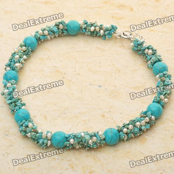 Mexican Natural Turquoise Pearl Necklace