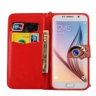 MO.MAT Eye Diamond Pattern Wallet Case w/ Strap for Samsung S6 - Red