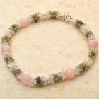 Rose Quartz Peridot Multigem Pearl Necklace