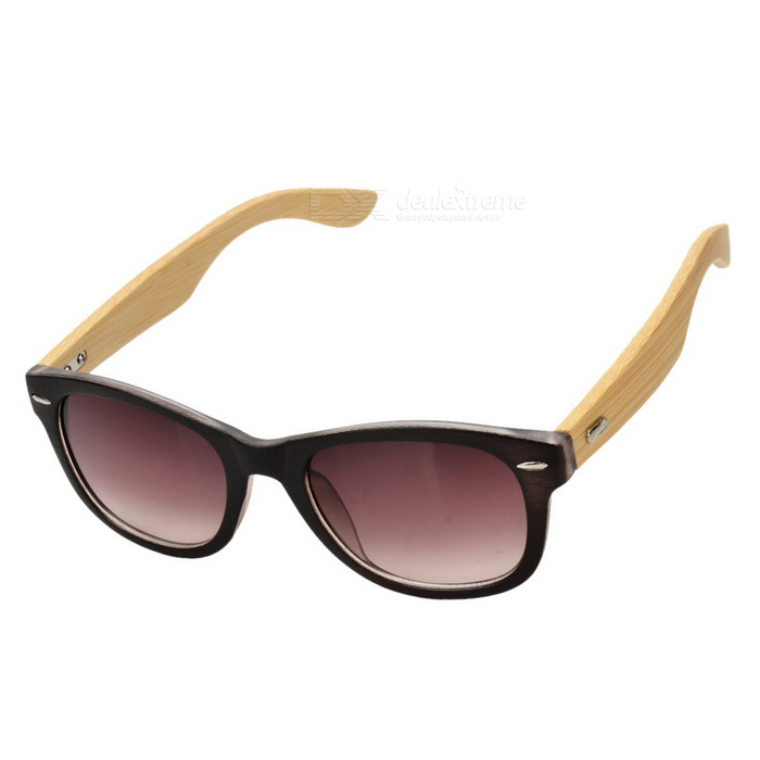 UV400 Protection Plastic + Wood Frame Resin Lens Sunglasses - Tawny