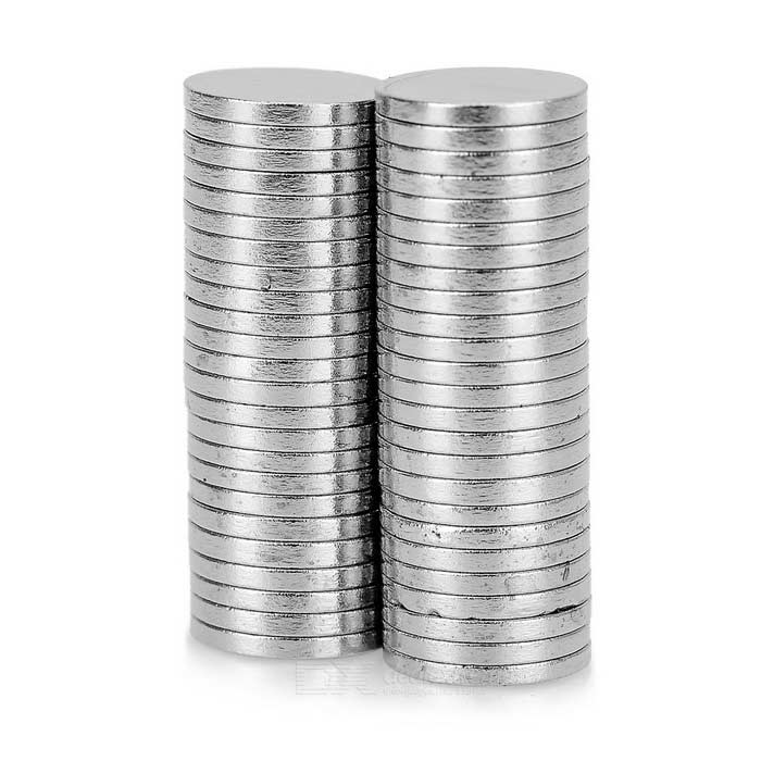 Round Shaped 8 x 1mm NdFeB Magnets - Silver (50PCS)