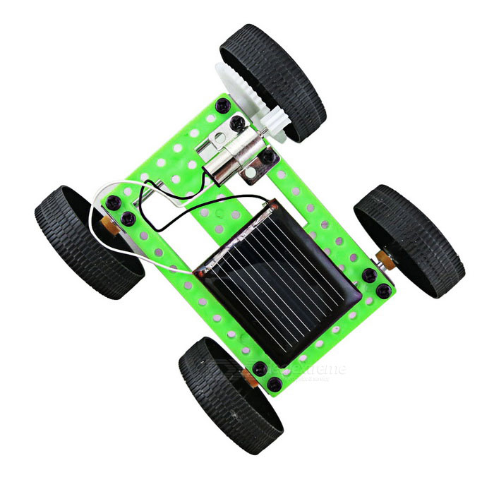 assembled solar powered car vehicle toy for kids green black
