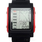 D3009 Stylish Silicone Band Analog + Digital Quartz Sports Watch w/ Backlight - Red + Black