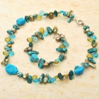 Natural Fancy Mother of Pearl Turquoise Bracelet & Necklace Set