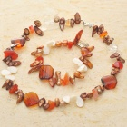 Natural Fancy Mother of Pearl Multigem Bracelet & Necklace Set-Orange