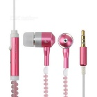 Stylish 3.5mm Zipper-Cable Design Glow-in-the-Dark In-Ear Earphones for IPHONE + More - Pink