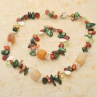 Natural Fancy Mother of Pearl Multigem Bracelet & Necklace Set