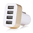 5.1A 4-Port Universal Car Charger Adapter - White + Golden (12~24V)
