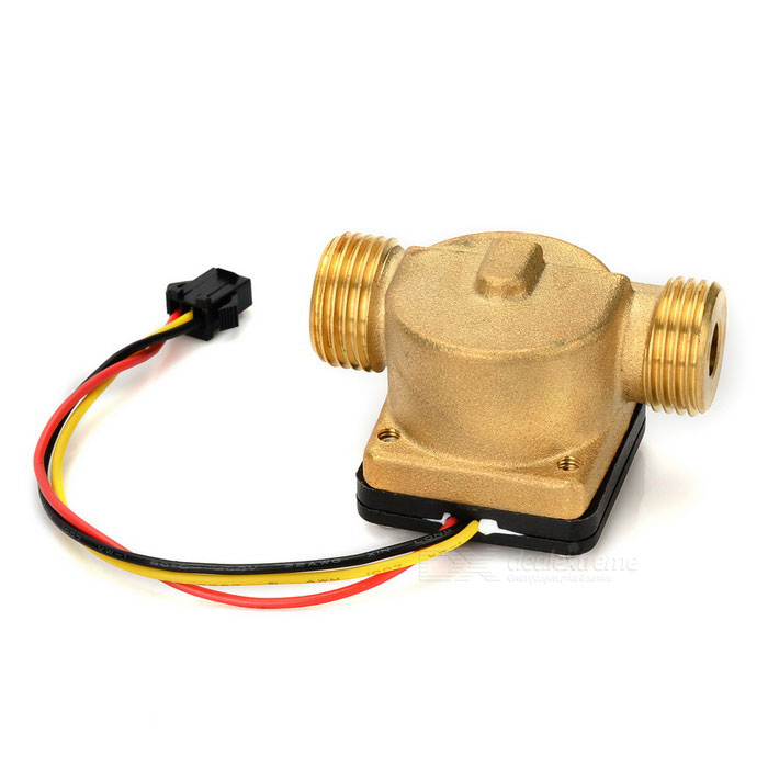 G1/2 External Thread Copper Flow Sensor for Water Heater / Flow Meter + More - Golden + Black