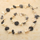 Elegant Mother of Pearl Black Onyx Bracelet & Necklace Set
