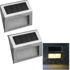 YouOKLight 0.2W Warm White LED Solar Powered Wall Lamp - Silver (2PCS)