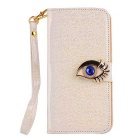 MO.MAT Shining Skin Eagle Eye Diamond PU + PC Wallet Case w/ Strap for Samsung Galaxy S6 - Gold