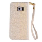 MO.MAT Eye Diamond Pattern Wallet Case w/ Strap for Samsung S6 - Gold