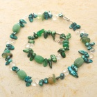 Exquisite Fancy Mother of Pearl Chrysoprase Gemstone Bracelet & Necklace Set