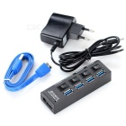 4-Port 3.0 HUB USB + AC Power Adapter w / Switch - Preto