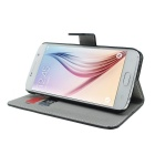 MO.MAT PU Wallet Case w/ Card Slot, Stand for Samsung S6 - Black + Red