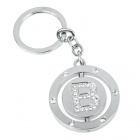 Double Side Round Stainless Keychain Ring Letter B