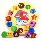 Wooden Cartoon Rabbit Numerical Clock Puzzle Learning Board Educational Toy - Light Yellow