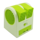 Portable USB / 3 x AA Powered Air Conditioning Scent Mini Fan - Green + White