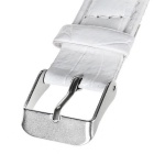 18mm Durable PU Watch Band Strap w/ Adjustable Pin Buckle - White