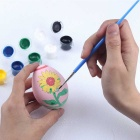 DIY Colored Painting Wood Easter Eggs Toy Kit - White + Multicolored