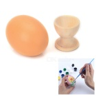 DIY Colored Painting Wood Easter Eggs Toy Kit - Pale Brown + Multicolor