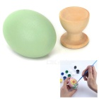 DIY Colored Painting Wood Easter Eggs Toy Kit - Green + Blue + Multicolor