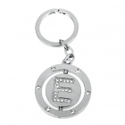 Double Side Round Stainless Keychain Ring Letter E