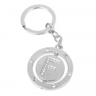 Double Side Round Stainless Keychain Ring Letter F
