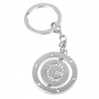 Double Side Round Stainless Keychain Ring Letter G