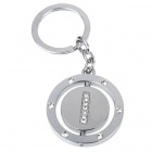 Double Side Round Stainless Keychain Ring Letter I