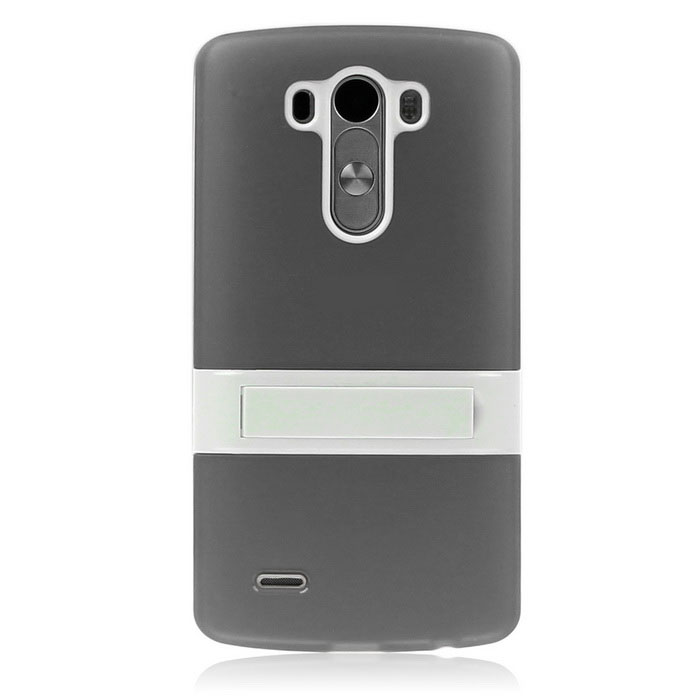 ENKAY Protective TPU Back Case Cover w/ Stand for LG G3 - Grey