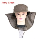 Unisex Sun Blocking UV Care Outdoor Hiking Fishing Hat Cap - Army Green